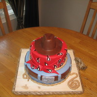Cowboy Cake MMF decorations and what a nightmare with this cake in the humidity! UGH! Glad it is done and hopefully it holds up to the destination!!