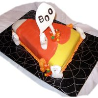 Candy Corn Boo Pumpkin cake with kaluha flavor bavarian cream filling. Fondant covered. VERY easy and the kids loved it!!