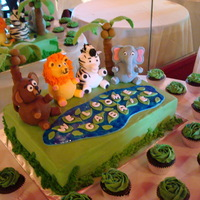 Jungle Animal Baby Shower Cake Still getting used to smoothing buttercream, getting better. The leaves and lake are fondant and the animals are cover in fondant as well....