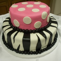 Pink Zebra And Polka Dot Cake