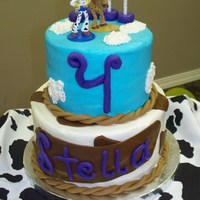 Toy Story Birthday Fourth birthday cake for my daughter. buttercream with fondant accents. figures purchased.