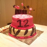 1024082348.jpg  Chocolate cake on the bottom tier.. Strawberry on the top with cream cheese icing for both! Chocolate fondant for the zebra stripes and...