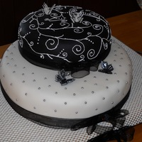 40Th Birthday Cake   Red Velvet Cake with Buttercream and Black and White color scheme