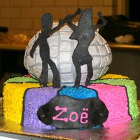 Disco Cake was BC icing with Ball pan being used for disco ball with BC icing and fondant accents, figures were Fondant.