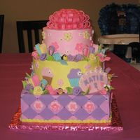 Katie's Cake This was a 12-inch square base topped with 10-inch and 7-inch rounds. First time doing a 3-tier stacked cake, which had to be assembled on...