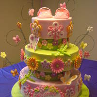 Baby Shower - Flower Power Here's the cake that went with the shoes. :) My first cake in five months (boy, did I forget a LOT!). Of course, when they gave me the...