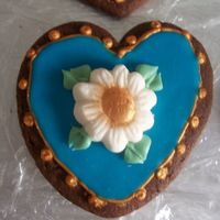 Blue Heart Cookie inspiration from Peggy Porschen--chocolate rolled cookie with royal icing, Toba's glace, white chocolate fondant and luster dust.
