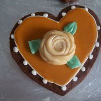 Orange Heart Cookie inspiration from Peggy Porschen--chocolate rolled cookie with royal icing, Toba's glace, caramel fondant.
