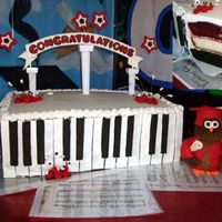"Red, White, And Black Grad Cake  R/WH/BL school colorswe stuck w/the same color theme including inside cake! Graduate sang ""Letting Go"" w/choir class during..."