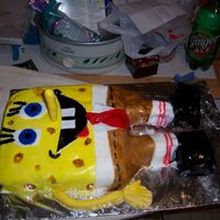 3D Spongebob For 8 Year Old Birthday This was my 2nd fondant cake. hahhaha No one told me you couldnt paint it with food coloring so its all shiny and sticky.hahah Ive learned...