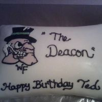 Demon Deacon This pillow cake was decorated for a co-worker who loves Wake Forest. I cut the deacons face and hat out in fondant and decorated it with...