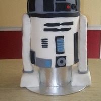 R2D2 My son wanted an R2D2 for his birthday! Probably the hardest cake I have made! I have never covered such a tall cake. The arms are RCT.