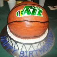 Jazz Ball Cake I made this for my grandma's 80th! She is a huge Utah Jazz fan! Everything is eadible. This was my first time trying my new airbrush...