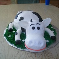 Cow Cake I was very happy with how this guy turned out! Isn't he cute!! Everything is eadible. Frosted in buttercream with fondant decorations...