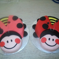 Twin Ladybugs I made these two ladybugs for my friends twin girls when they turned two. They are covered in fondant.