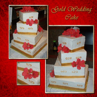 "Gold Wedding Cake 12"", 10"", 8"", and 6"" square red velvet cakes covered in buttercream. The ribbons around the bottom are fondant painted..."