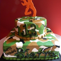 Camo B-Day Cake The b-day girl wanted camo & the browning symbol & NO pink so this is what I came up with. ALL buttercream! Took some time but I...