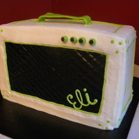 Guitar Amp This is what my nephew wanted for his cake. I didn't want to do an all black cake so he came up with this color scheme. Chocolate cake...