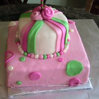 Retro Girls Birthday Cake Top tier is chocolate with ganache, bottom tier is butter-cake with buttercream icing. I made my own fondant. This is only my 3rd fondant...