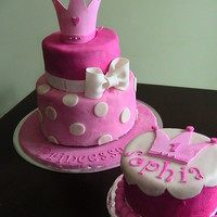 Princess Cake Cake for first birthday with smash cake.