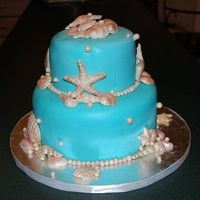 Tiffany Blue Seashell Bridal Shower 6inch and 9inch WASC w/ raspberry cream cheese filling. She wanted a tiffany blue seashell cake much like my other one in my gallary.. &#...