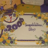 Alex's Graduation Cake The stars, graduation cap with tassle, numbers 2006, diploma and a few of the flowers are made of fondant. Everything else is buttercreme...