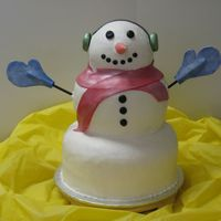 Snowman This Snowman looks like he's covered with fondant....but...it's actually smoothed icing..The earmuffs, nose, scarf and gloves are...