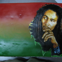 Bob Marley Birthday Cake Handpainted bob marley on modelling paste