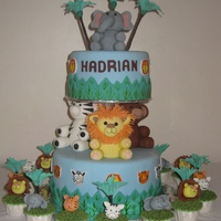 Animal Pillars Birthday Cake Did not have globe pillars to create this cake so used normal pillars instead and the animals was build up on the pillars. Think the...