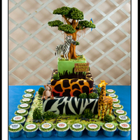 Safari Theme Birthday Cake This is a remake of my safari cake with some ameliorations to the tree and animals