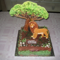Simba Lion King Birthday Cake Sugarhandcrafted Tree and Simba and handpainted after