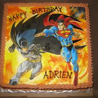 Batman N Superman Birthday Cake Handpainted Batman n Superman on gumpaste