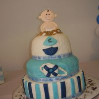 Ahoy, It's A Boy! covered in marshmallow fondant, i made my self and colored.