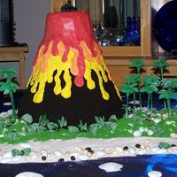 Volcano Cake made from several differnt size rounds, then shaped. Covered in Store bought chocolate frosting then Oreo cookie crumbs. Then piped on...
