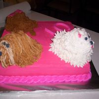 Angela This cake is iced in BC. I made the dogs with small loaf pans & then shaped them with buttercream.