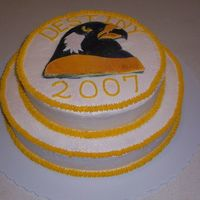 Destiny '07   This is a white cake iced in BC. The falcon is airbrushed fondant.