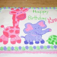 Zoo Animals Birthday   Freehand design copied from party invitation. Buttercream.