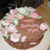 Moms Pink Garden   Chocolate Cake, Chocolate Buttercream with flowers & butterflies and basketweaving