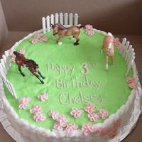 Horse Pasture Birthday   Buttercream with plastic Breyer horses and fence. Basket work on the sides with buttercream apple blossoms.