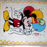 Mickey Mouse Cake Mickey Mouse FBCT (My 1st one) BC icing. Thanks for looking.