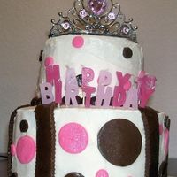 Princess Cake 2 Tier Cake covered in BC w/ MMF Accents.