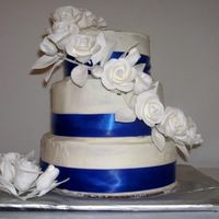 Something Borrowed, Something Blue 3-Tier Wedding cake. French Vanilla Cake Covered in Butter Cream.