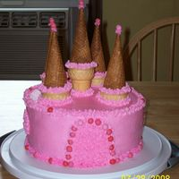 Princess Cake buttercream frosting..dots are yogos...towers are made from ice cream cones(sugar & cake). It was so easy..