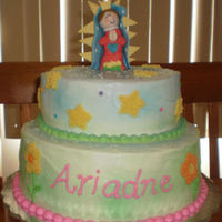 Virgencita Moderna This is a cake for a first birthday-baptism occasion, Almond flavor cake, filled with jelly and philadelphia frosting. i had less time to...