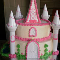 "Little Castle 10"" & 8"" round almond flavor cake, filled with blackberry jelly, cream cheese frosting, the little princess love it!"