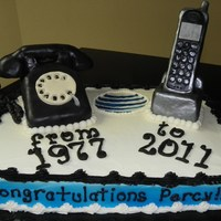 At&t Retirement Cake this cake was made for someone retiring from AT&T, the phones are made out of rice krispie treats, covered in white chocolate then...