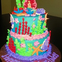 "Little Mermaid Cake 6"" and 8"" round cakes, iced in bc, accents made using royal icing. cake topper is a candle"