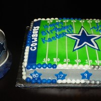 Dallas Cowboy Themed Birthday And Smash Helmet Cake  this is a single layer quarter sheet cake, iced in bc with mmf accents. the helmet was made using the 3D ball pan and then carved away to...