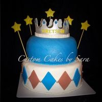 Prince Cake W/ Crown All edible, GP crown with luster and dragees. Fondant accents and airbrushed pillow with blue & pearl. CSM - Wish I would have deepened...