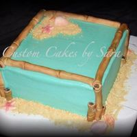 Bamboo @ The Beach Cake Teal BC with handmade & painted bamboo. Sugar painted shells and cookie sand.:)